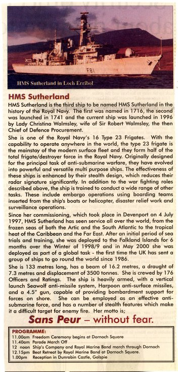 Details of HMS Sutherland with Freedom Parade programme