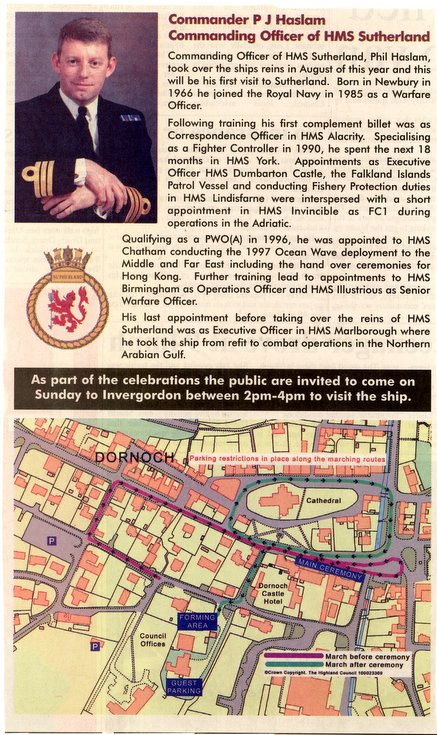 Commanding Officer HMS Sutherland & Freedom Parade route