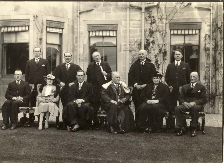 Dornoch Town Council members, c.1930, outside Royal Golf Hotel.