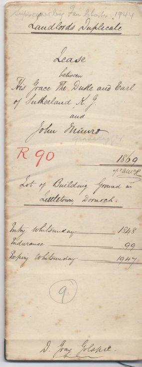 Lease between Duke of Sutherland and John Munro 1869
