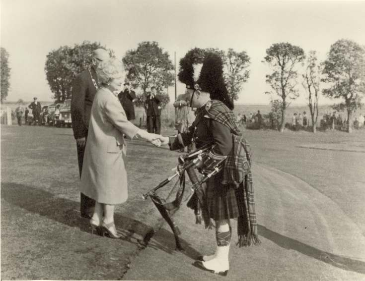 Queen Mother at opening of Dornoch Academy