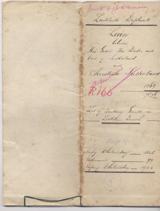 Lease between Duke of Sutherland and Christina Sutherland 1869