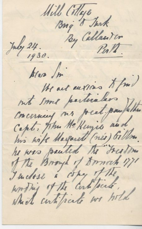 Letter re 1771 freedom of burgh granted to John Mackenzie 1930