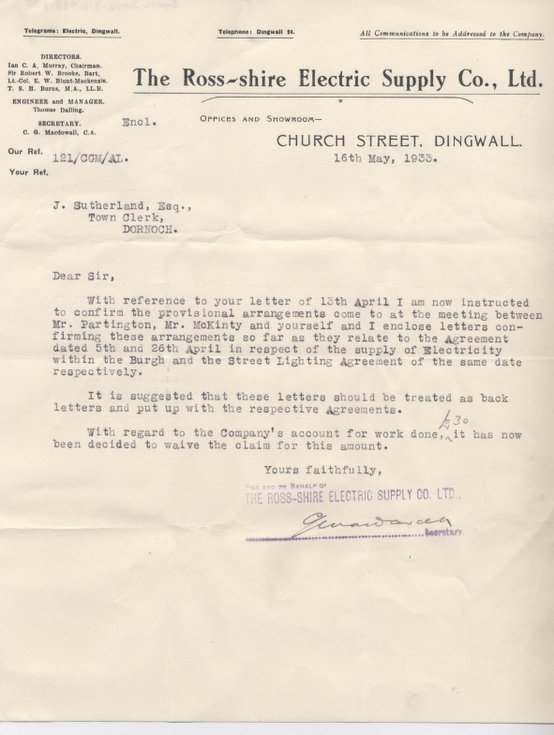 Letters from Ross-shire Electricity Supply Co 1933