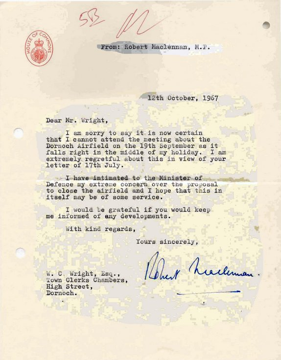 Correspondence Dornoch Airstrip 1967