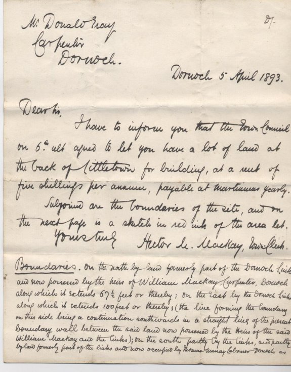 Letter to Donald Gray 1893
