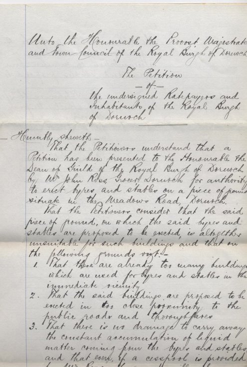Petition against building in Meadows Road 1897