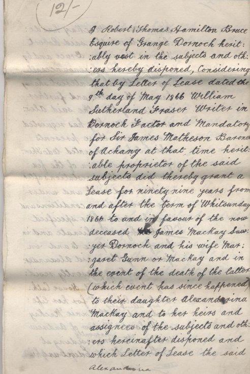 Feu charter by RT Hamilton Bruce in favour of Alexandrina Mackay 1897