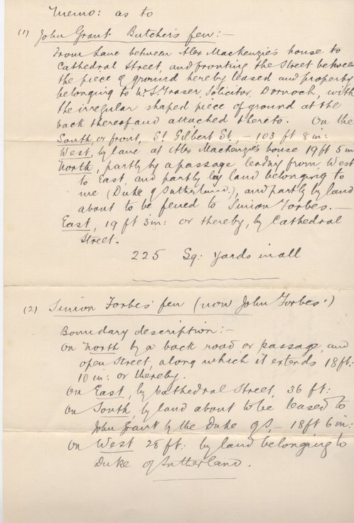 Memo re boundaries of John Grant's and Simon Forbes' feus 1901