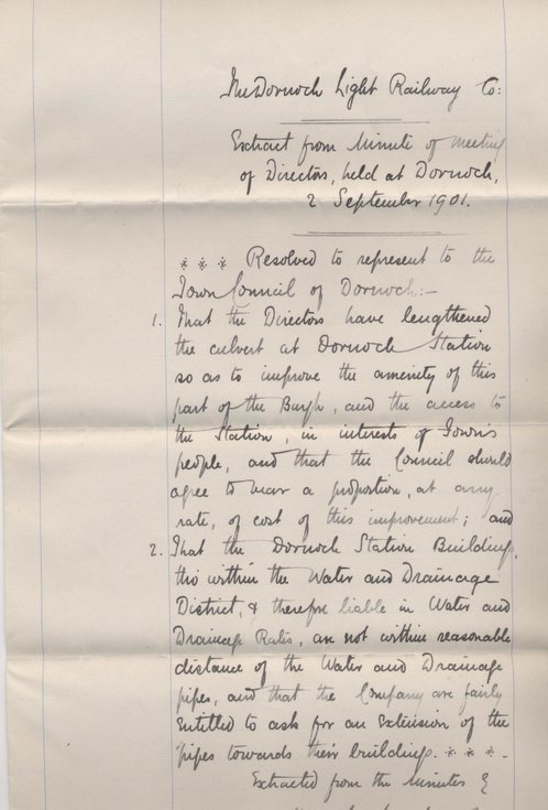 Extract from minutes of Dornoch Light Railway Co 1901