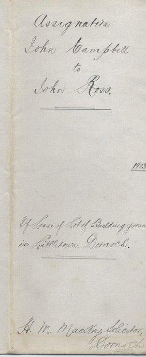Assignation John Campbell to John Ross 1903