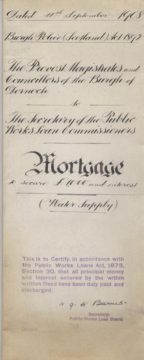 Mortgage re water supply 1908