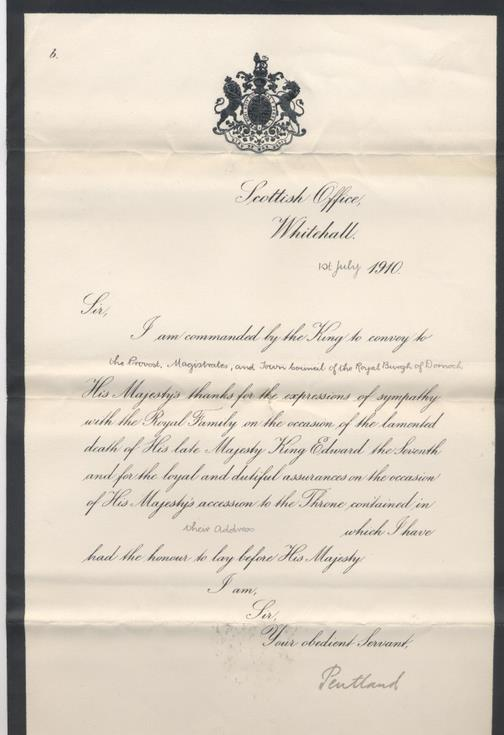 Letter from Scottish Office re death of King Edward VII 1910