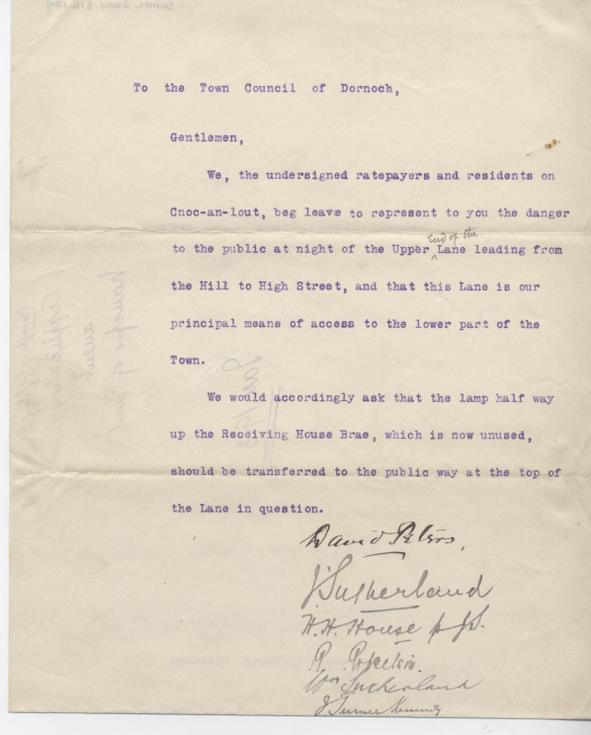 Request for new street lamp 1913