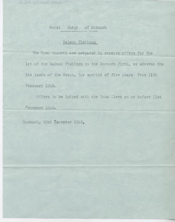 Advertisement of burgh salmon fishings 1948