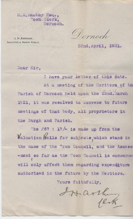 Letter re heritors' meeting 1921