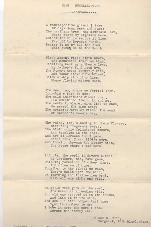 Home Recollections - poem about Dornoch
