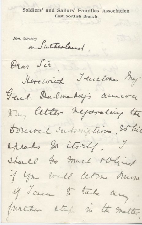Letter from Soldiers & Sailors Families Association