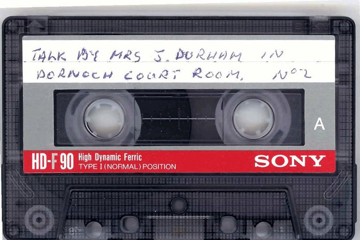 Audio-tape of lecture by Mrs Jane Durham