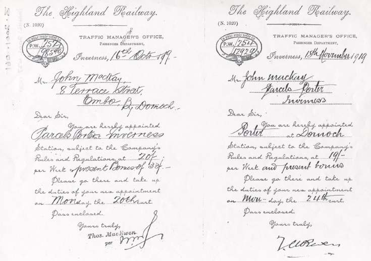Letters of appointment as porter