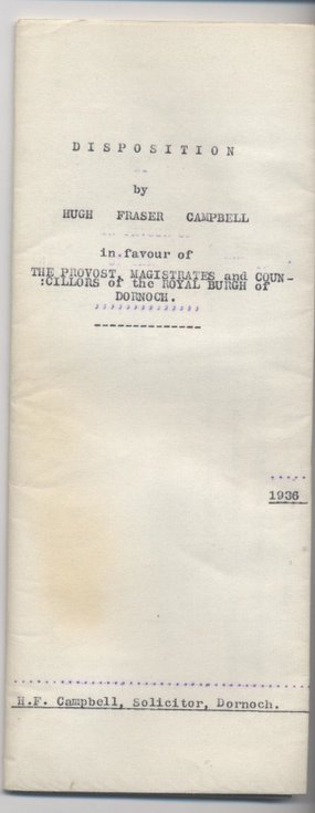 Disposition by H.F. Campbell in favour of Town Council 1936