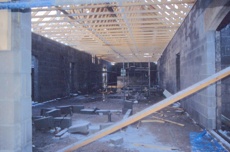 Interior view with roof joists in position