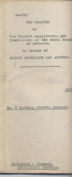 Feu charter in favour of Robert McCulloch 1946