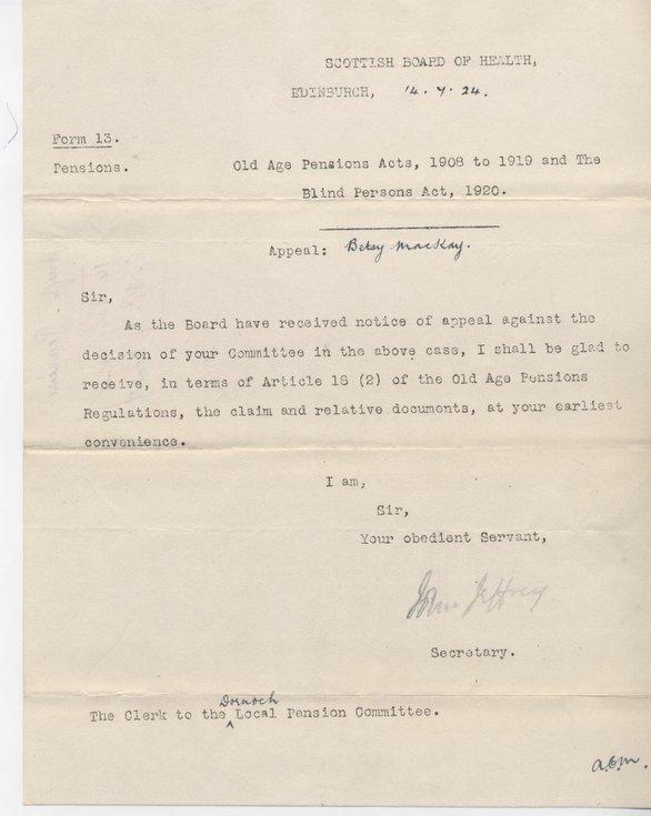 Letter re. pension 1924