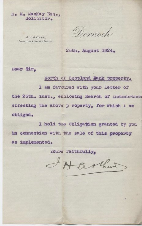Letter re. North of Scotland Bank property 1924
