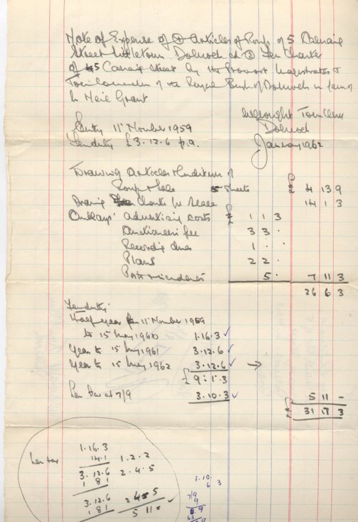 Note of expense 1962