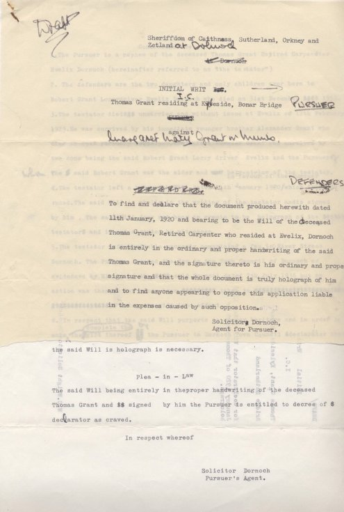 Writ Thomas Grant against Margaret Grant 1967