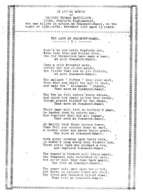 Poem in memory of Private Thomas MacCulloch