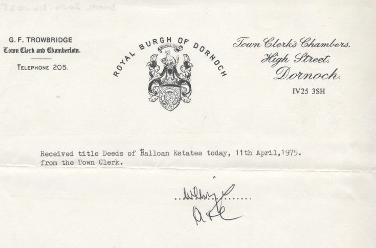 Receipt for Balloan title deeds 1975