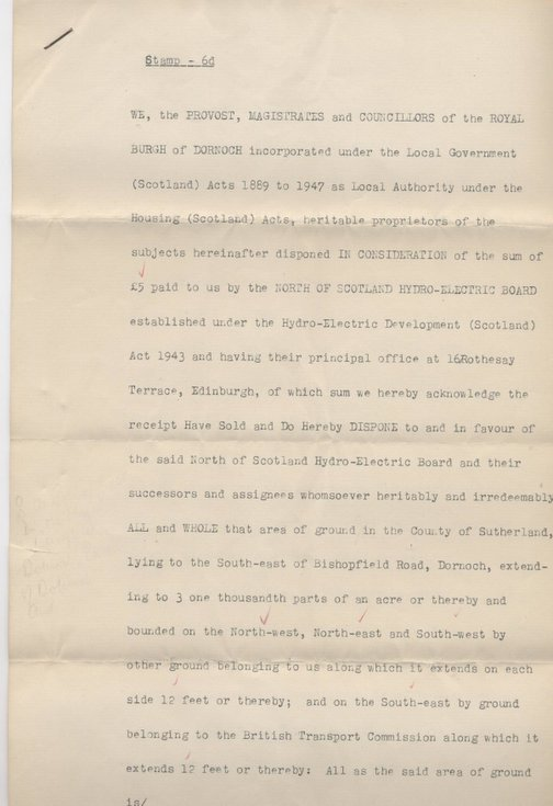Disposition in favour of Hydro-Electric Board 1955