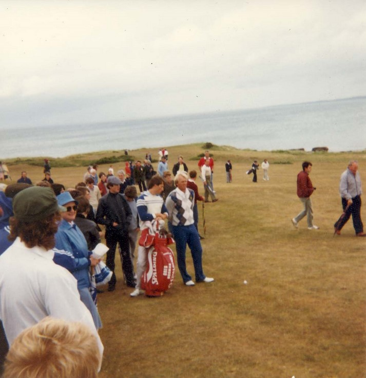 Greg Norman playing at Royal Dornoch July 1984