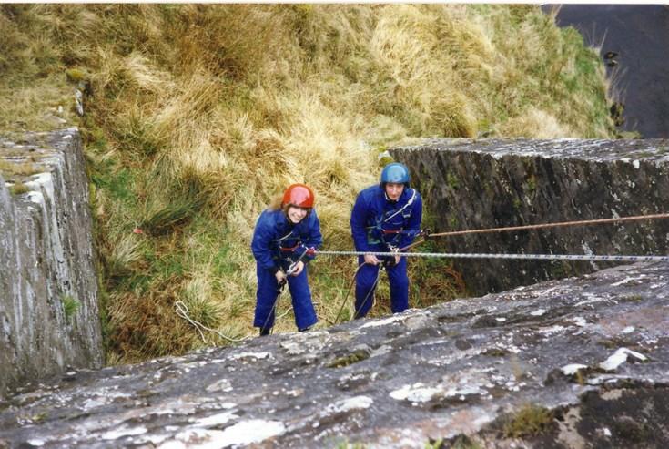 HM Coastguard Station, Dornoch cliff rescue training - abseiling