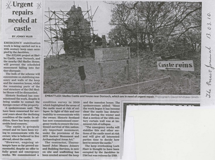 Newspaper cutting  concerning urgent repairs to Skelbo Castle