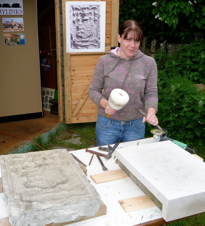 Making of the replica armorial stone from Embo House