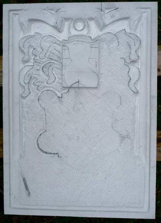 Outline taking shape during the making of the replica armorial stone