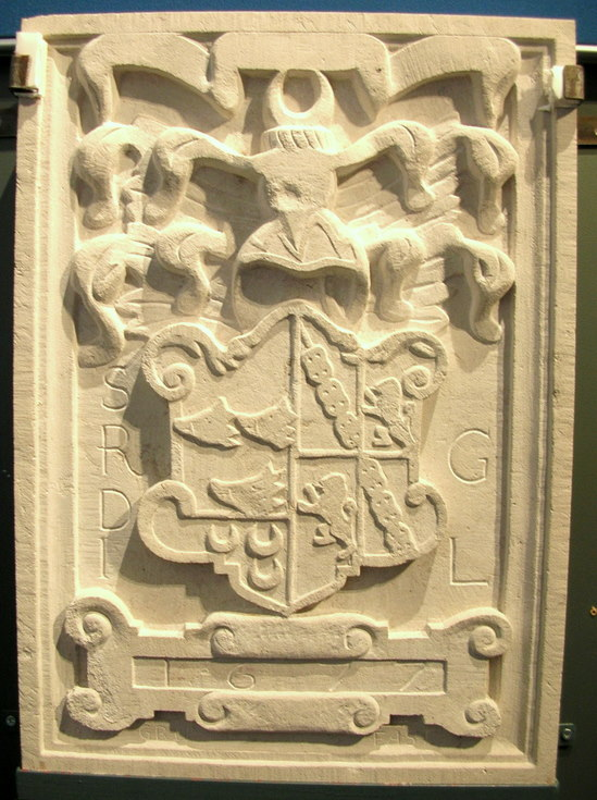 The completed replica armorial stone