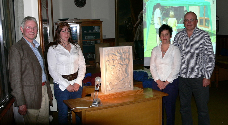 Unveiling of the replica armorial stone from Embo House