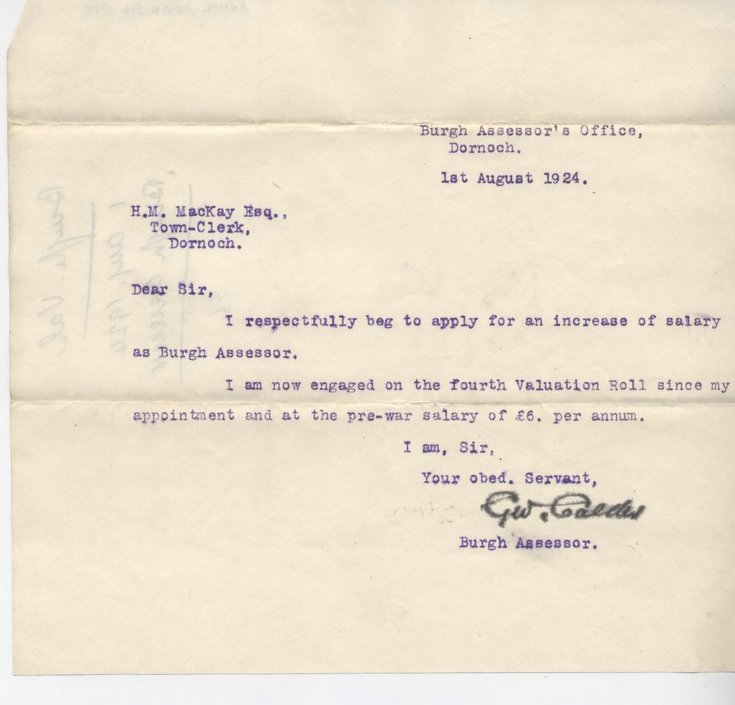 Dornoch Historylinks Image Library - Request For Salary Increase 1924