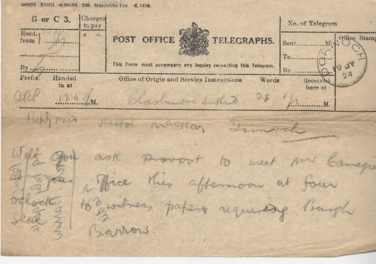 Telegram re. meeting with Mrs. Carnegie 1924