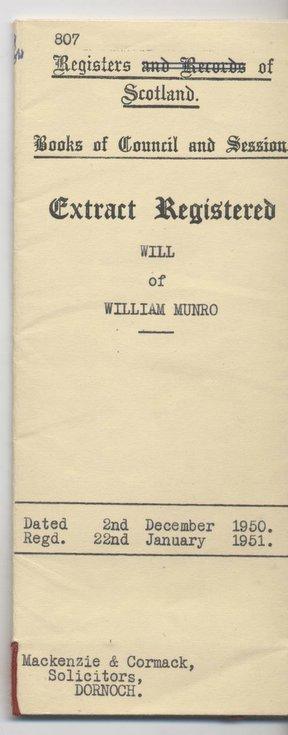 Will of William Munro 1950
