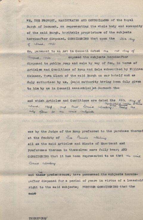 Feu charter in favour of David Mackay 1951