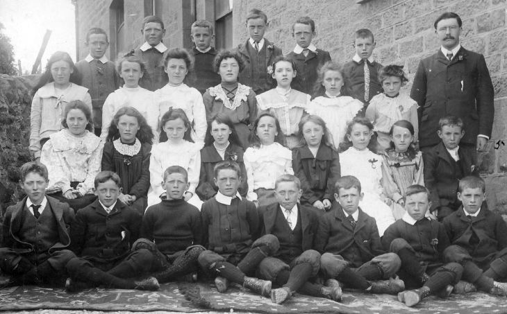 Dornoch Burgh School class, c. 1900, teacher, Mr W. Shaw.