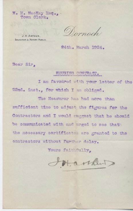 Letter re. dispute with contractors 1924