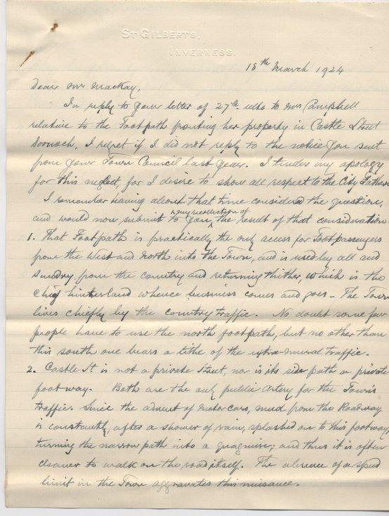 Letter re. Castle Street pavements 1924