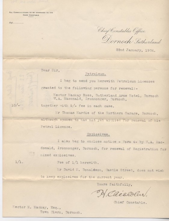 Letter re. petroleum and explosives licences 1924