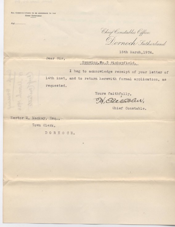 Letter re. house for police sergeant 1924